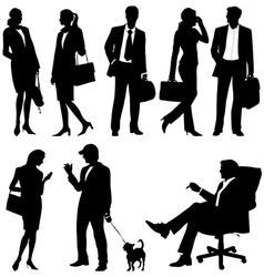 global business team - silhouettes vector image vector image