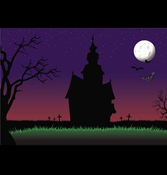 halloween haunted house background vector image vector image
