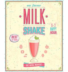 Milk Shake Poster vector image vector image