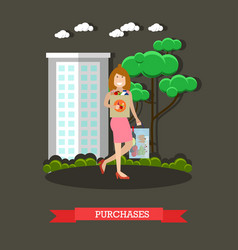 purchases concept in flat vector image vector image