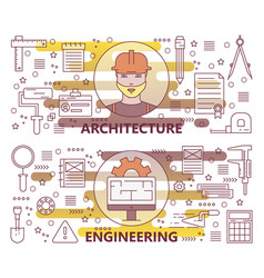 set of modern thin line architecture and vector image vector image