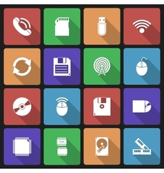 Set of Technology Icons with Long Shadow vector image vector image