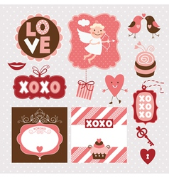 Set of Valentines Day elements vector image vector image