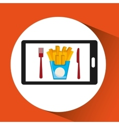 smartphone order french fries food online vector image