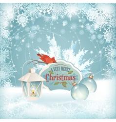 Xmas bird lantern christmas balls background vector