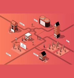 3d isometric city center urban map vector image