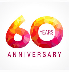 60 anniversary red logo vector