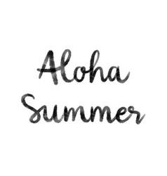 Aloha summer hand lettering on white background vector