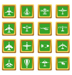Aviation icons set green vector
