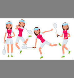 Badminton female player in action vector