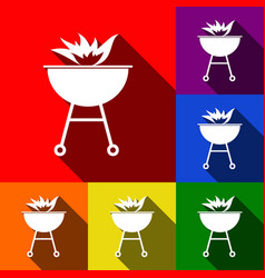 barbecue with fire sign set of icons with vector image