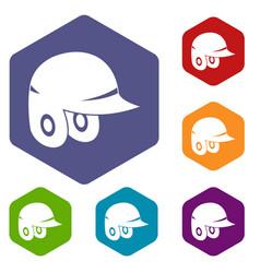 Baseball helmet icons set hexagon vector