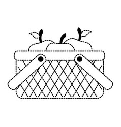 Basket with apples icon vector