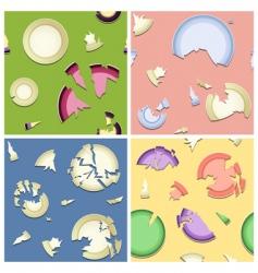 broken plates seamless pattern vector image