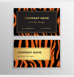 business card trendy zebra and tiger pattern vector image