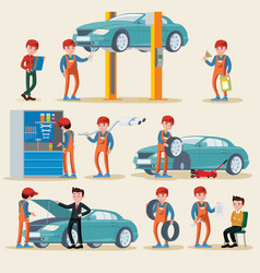 Car service elements set vector