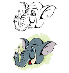 Cartoon head of an elephant vector
