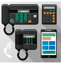 cellphones landline phone and smartphone vector image