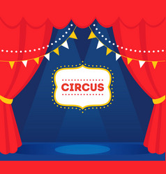 Circus stage with lights red curtains and marquee vector