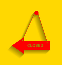 closed sign red icon with vector image