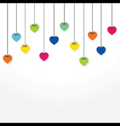colorful heart hang background design vector image