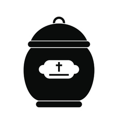 Cremation urn black icon vector image