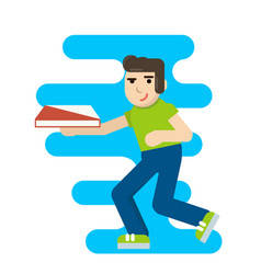 Cute cartoon pizza delivery boy running with vector
