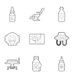 Diagnosis and treatment of diseases icons set vector