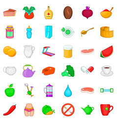 Dietary product icons set cartoon style vector