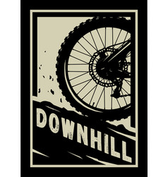 downhill mountain bike banner t-shirt print vector image
