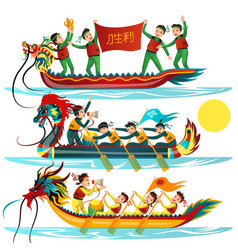 dragon boat colorful flat set vector image