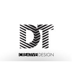 Dt d t lines letter design with creative elegant vector