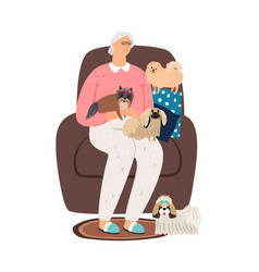 elderly dog lover vector image