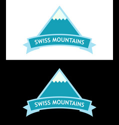 emblem with swiss alps logo in blue color vector image