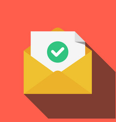 envelope with document and round green check mark vector image