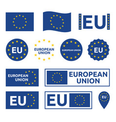 european union signs set eu labels and badges vector image