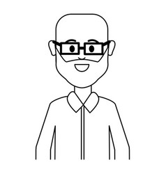 figure people man with casual cloth with glasses vector image
