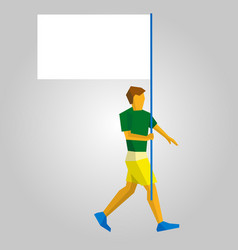 Flag bearer with blank standard in one hand vector