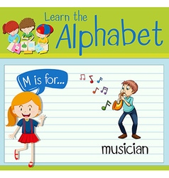 Flashcard letter M is for musician vector image