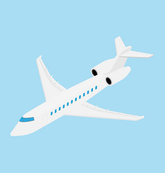 Flying business jet airplane isolated on blue vector