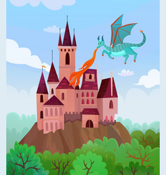 flying dragon castle composition vector image