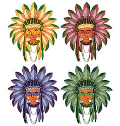 Four heads of native american indians vector