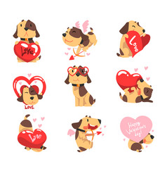 Funny jack russell terrier dog with hearts set vector
