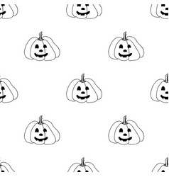 halloween seamless pattern in elements of doodle vector image