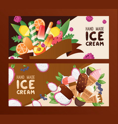 Hand made ice cream banner vector