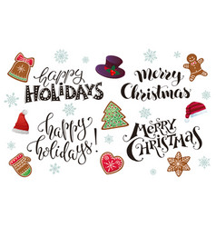 happy holidays phrases vector image