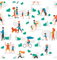 healthy people pattern cartoon characters doing vector image