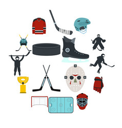 hockey flat icons set vector image