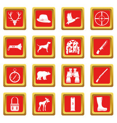 hunting icons set red vector image