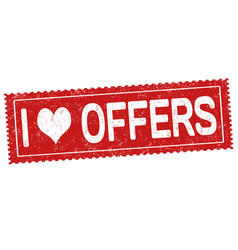 i love offers sign or stamp vector image